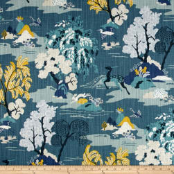 Dwell Studio Modern Toile Peacock Fabric