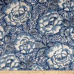 Robert Allen @ Home Peony Bowl Indigo Fabric