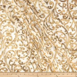 Starlight Sequined Mesh Andora Gold/Ivory Fabric