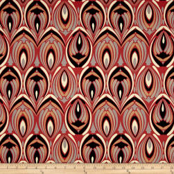 Italian Designer Stretch Sateen Rust/Taupe/Black/Multi