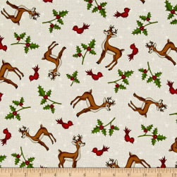 Reindeer Magic Reindeer Toss Cream Fabric