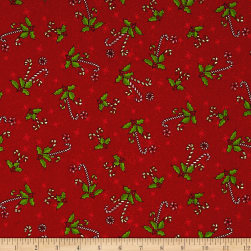 Reindeer Magic Candy Cane Toss Red Fabric