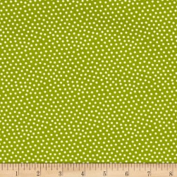 Reindeer Magic Dots Green Fabric