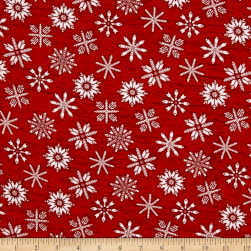 Frosty Folks Flannel Snowflake Red Fabric