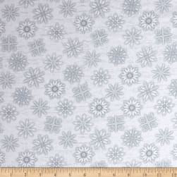 Frosty Folks Flannel Snowflake White/Gray