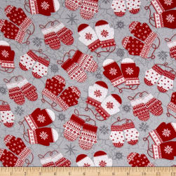 Frosty Folks Flannel Mittens Gray Fabric