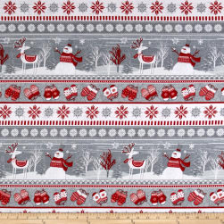 Frosty Folks Flannel Winter Novelty Stripe Multi Fabric