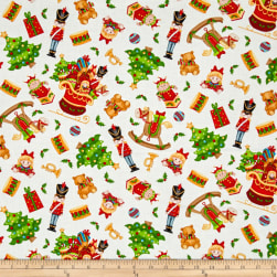 Jolly Ole' St. Nick Tossed Toys White/Multi Fabric