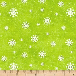 Jolly Ole' St. Nick Snowflake Green Fabric