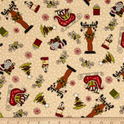 Glad Tidings Christmas Characters Cream Fabric