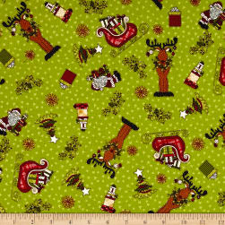 Glad Tidings Christmas Characters Green Fabric