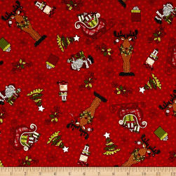 Glad Tidings Christmas Characters Red Fabric