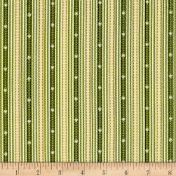 Glad Tidings Ticking Stripe Green Fabric