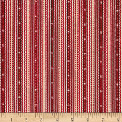 Glad Tidings Ticking Stripe Red Fabric