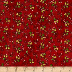 Glad Tidings Holly Red Fabric