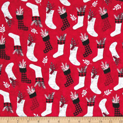 Holiday Homecoming Stocking Allover Red Fabric