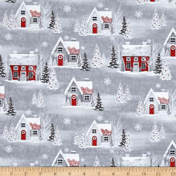 Holiday Homecoming Houses Gray Fabric