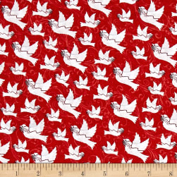 Holiday Homecoming Doves Red Fabric