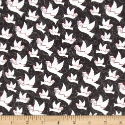 Holiday Homecoming Doves Black Fabric