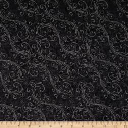 Holiday Homecoming Swirl Black Fabric