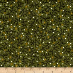Kim Diehl Winter Cheer Flannel Branches And Stars Green Fabric