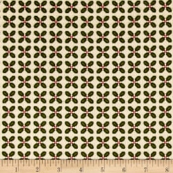 Kim Diehl Winter Cheer Flannel Sprigged Leaf Cream Fabric