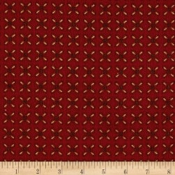 Kim Diehl Winter Cheer Flannel Sprigged Leaf Red Fabric