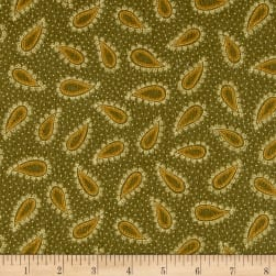 Kim Diehl Winter Cheer Flannel Paisley Green Fabric