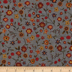 Autumn Song Tossed Flowers Blue Fabric