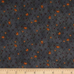 Autumn Song Mini Stars And Pumpkins Blue Fabric