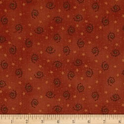 Autumn Song Saw Tooth Swirls Red Fabric