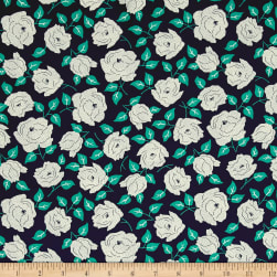 Sweet Florals Dotted Rose Navy Fabric