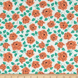 Sweet Florals Dotted Rose White Fabric