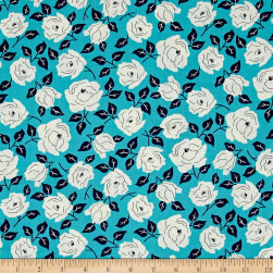 Sweet Florals Dotted Rose Turquoise Fabric
