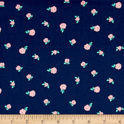 Sweet Florals Tiny Rose Navy Fabric