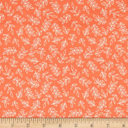 Sweet Florals Scribble Leaves Coral Fabric