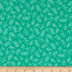 Sweet Florals Scribble Leaves Green Fabric