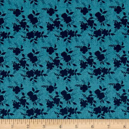 Sweet Florals Shadow Flower Navy Fabric