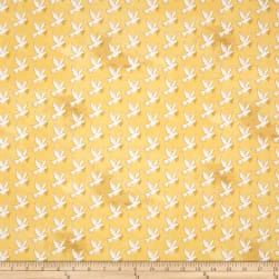 Faith Doves Gold Fabric