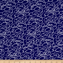 Faith Words Navy Fabric