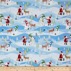 Santa's Little Helpers Scenic Blue Fabric