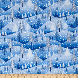 Santa's Little Helpers Trees Blue Fabric