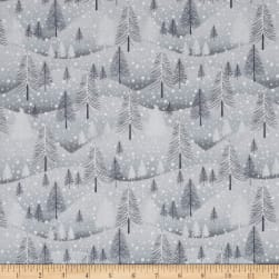 Santa's Little Helpers Trees Grey Fabric