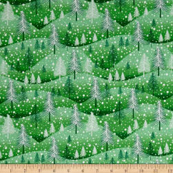 Santa's Little Helpers Trees Green Fabric