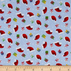 Santa's Little Helpers Hats & Gifts Blue Fabric