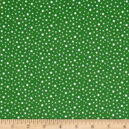 Santa's Little Helpers Snow Green Fabric