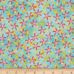 Coral Reef Starfish Aqua Fabric