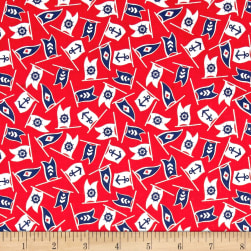 Bon Voyage Nautical Flags Rosebud Fabric