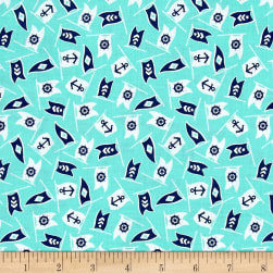 Bon Voyage Nautical Flags Jade Fabric