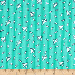 Bon Voyage Fishing Boats Jade Fabric
